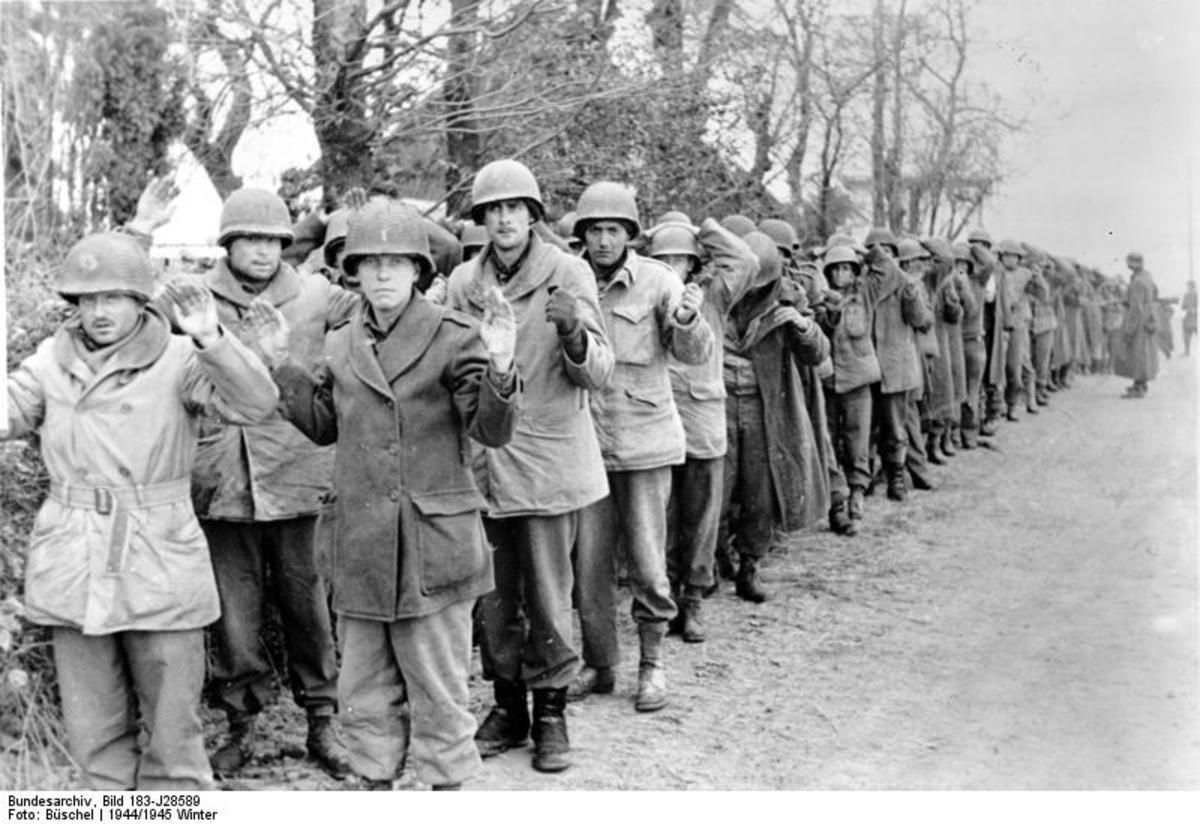 At least 7,000 American soldiers of the 106th Infantry Division surrendered to German troops on December 16th & 17th 1944 in the opening phase of the Battle of the Bulge.