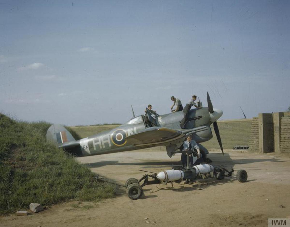 Hawker Typhoon rearming in 1943.