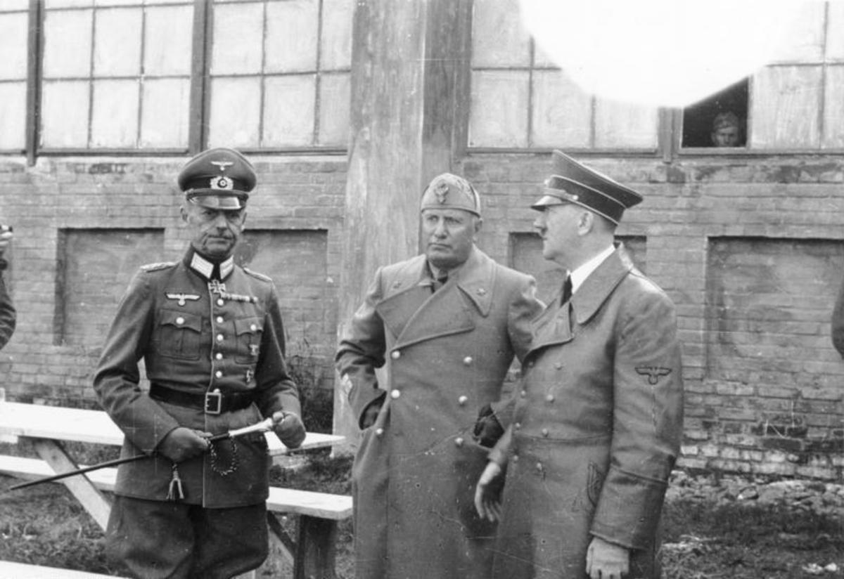 Rundstedt, Benito Mussolini, and Adolf Hitler, Russia, 1941. General Gerd von Rundstedt commanded the sixty German divisions along the Western Front December 1944.