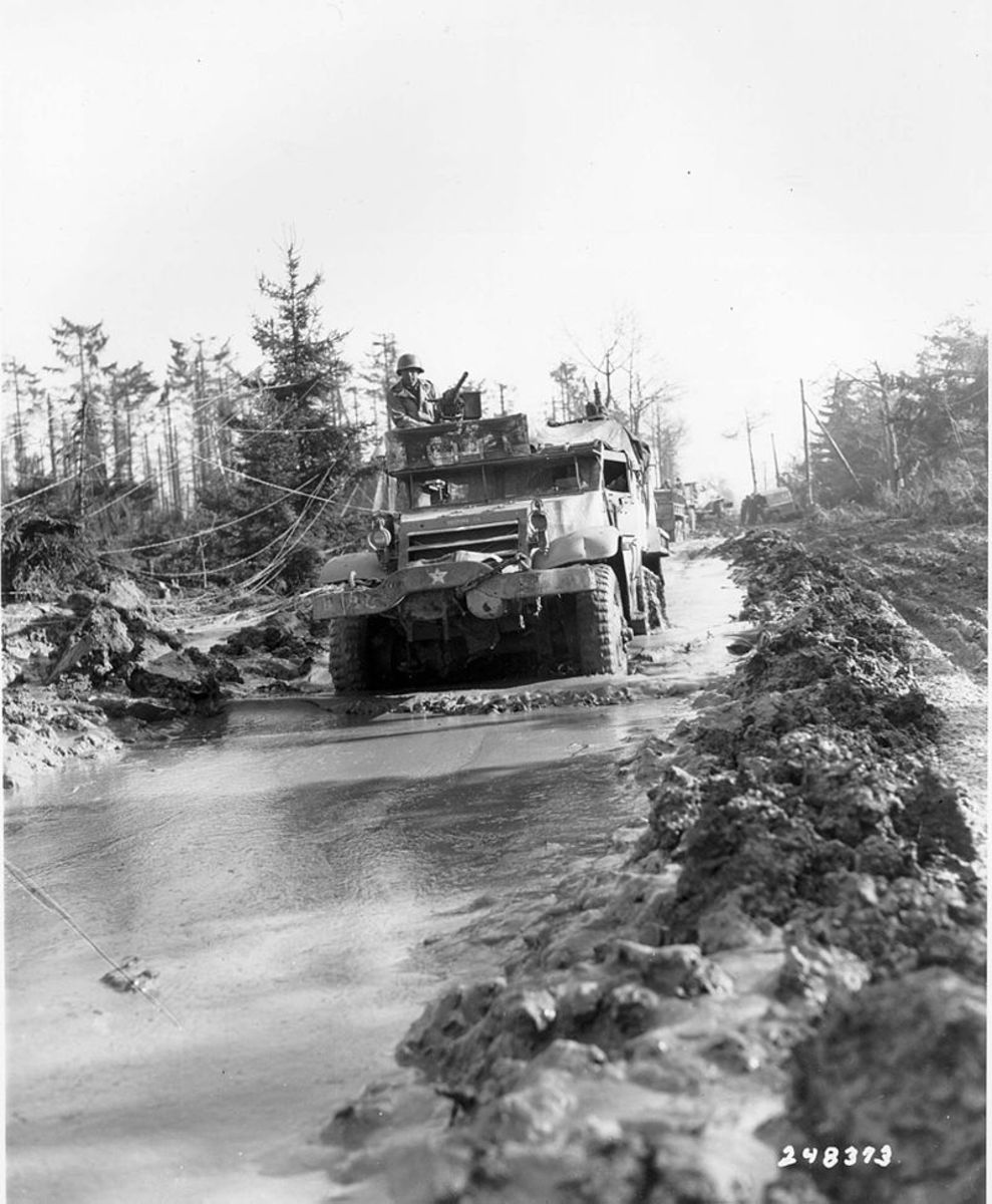 A U.S. halftrack of the 16th Infantry Regiment/1st U.S. Division in the Hürtgen Forest, February 15,1945. Even after the battle for the Ardennes Hurtgen Forest remained in German hands.