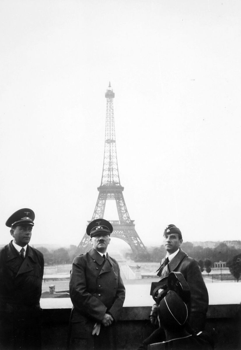 Hitler during his only trip to Paris on June 28,1940, he stands before the Eiffel Tower after the defeat of France. One year later he would invade the Soviet Union.