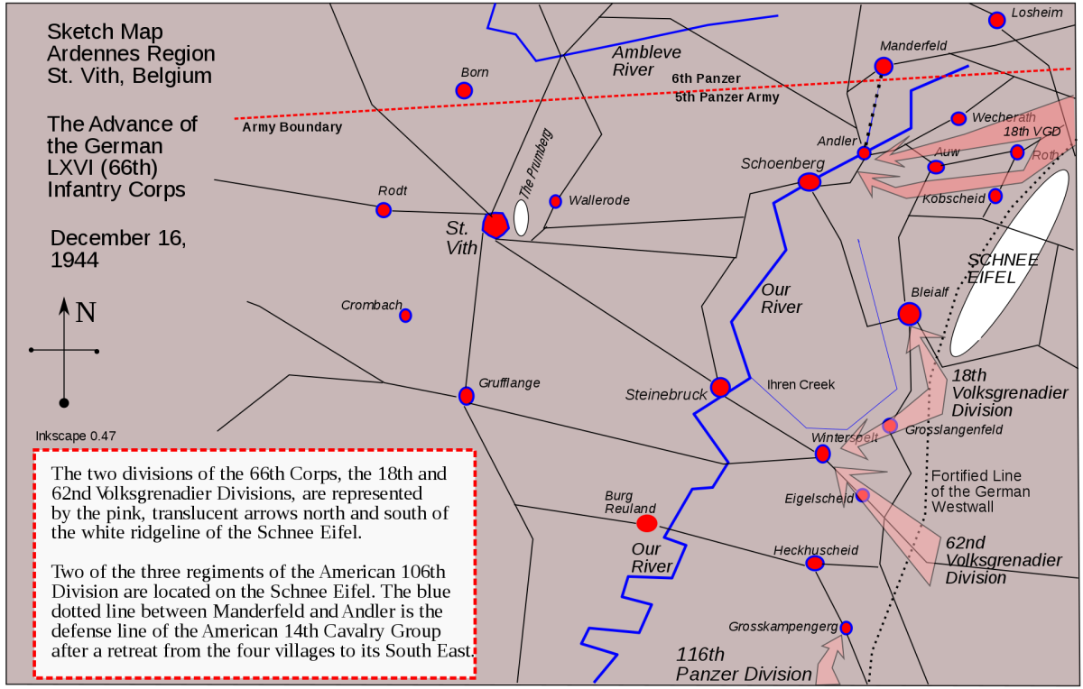 Map of Saint-Vith, Belgium in the Ardennes December 1944.