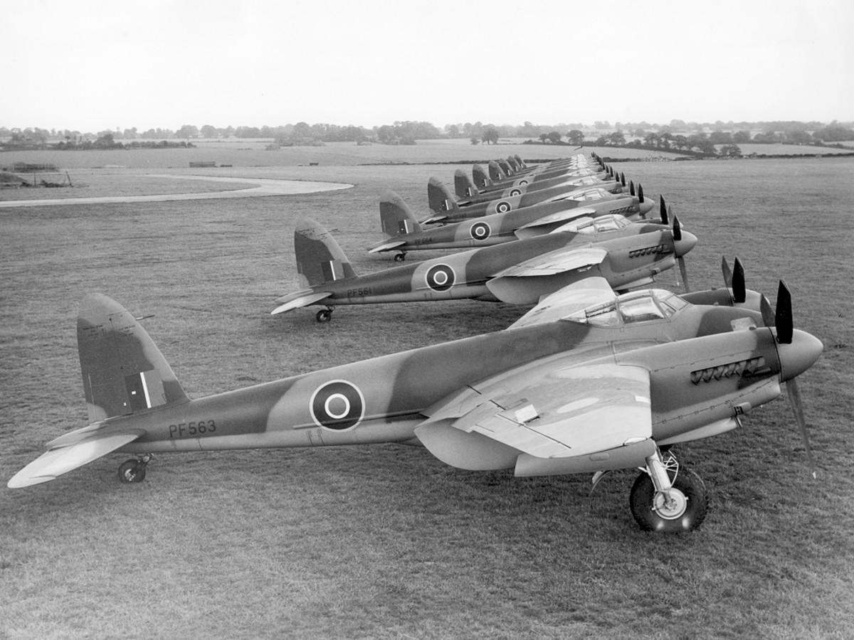 The Mosquito fighter bomber was the fastest prop driven plane of the Second World War flying at speeds of over 400 mph. Made mostly of wood it was very effective destroying German armor on the ground.