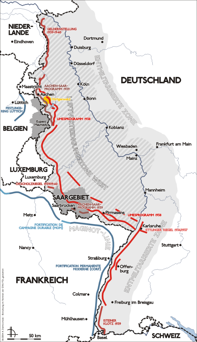 Map of the West Wall December 1944 it was also known as the Siegried Line. It was built before the war to prevent a British and French invasion in 1940.