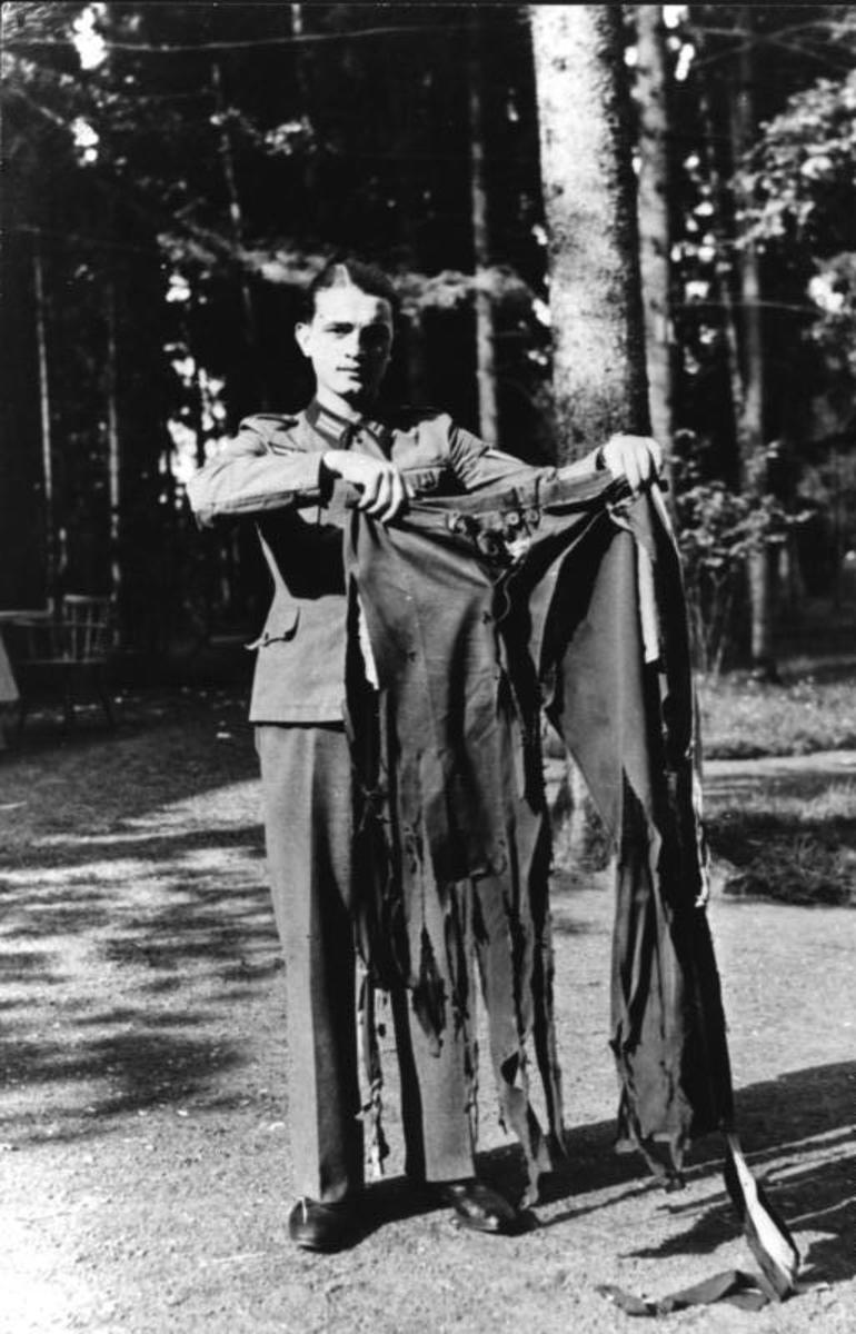 Hitler's tattered trousers. The bomb was only a few feet from his position at the conference table.