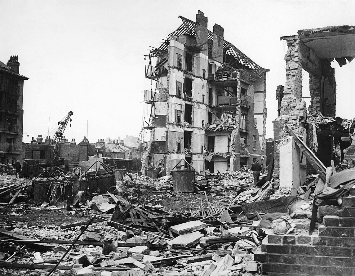 Damage caused by a V-2 rocket attack in London. V-2s flew at super-sonic speeds its victims would feel the blast well before they heard the sound of the explosion.