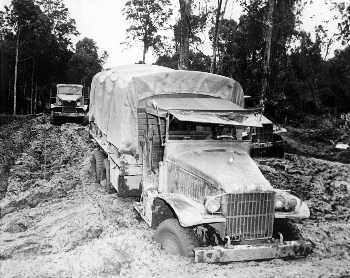 A Red Ball Express truck gets stuck in the mud November 1944.
