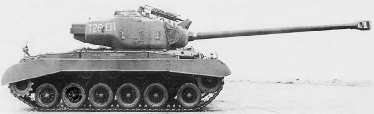 Another view of the M26 Super Pershing tank it was used in the Battle of Aachen by Patton's troops. Few M26 Super Pershing tanks would make it to the battlefield before the German Army surrendered.