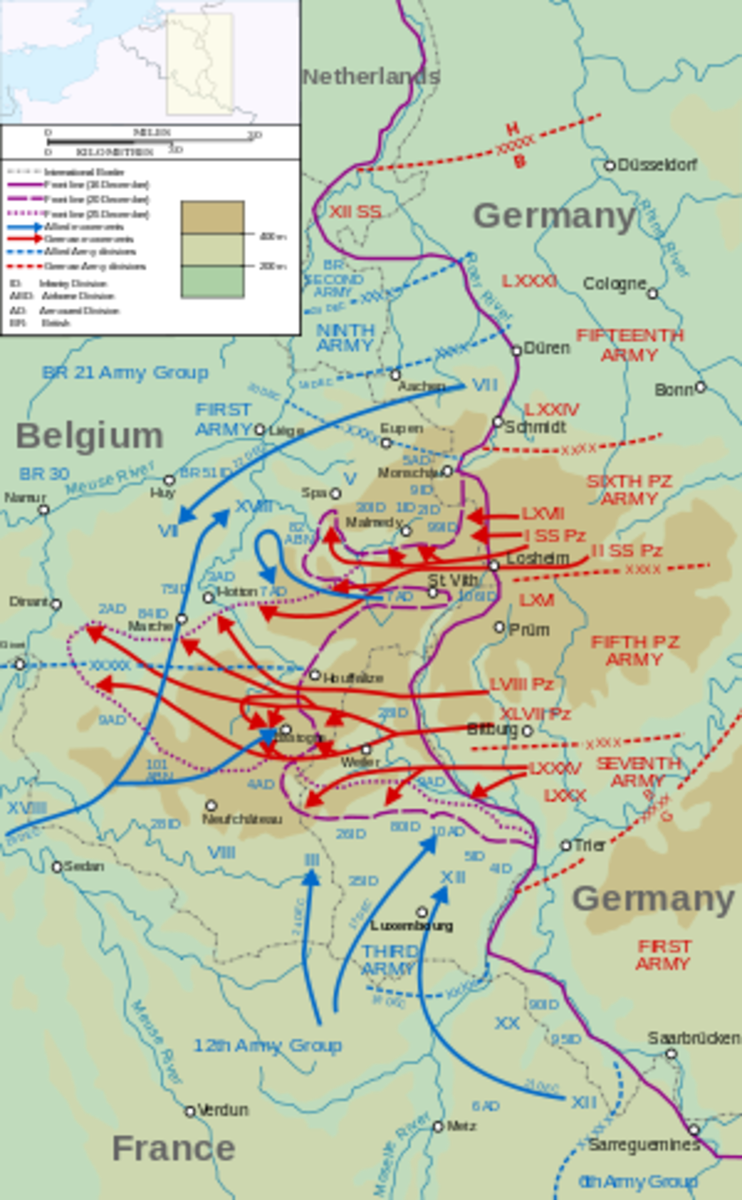 """The major German counter-offensive in the Ardennes became known as the """"Battle of the Bulge"""" a phrase coined by the American press who described it in terms the way the Allied front bulged inward on wartime news maps."""