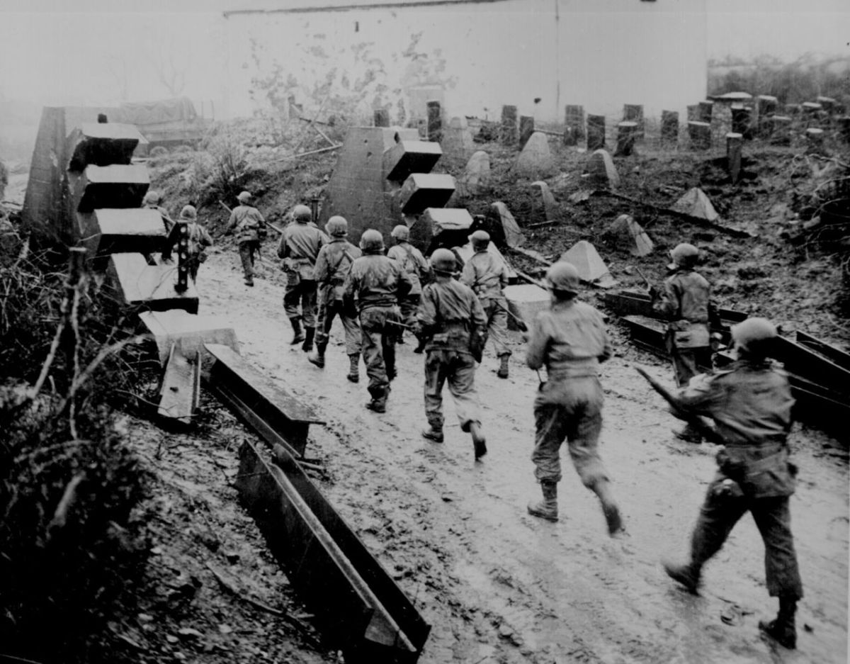 American troops pass through the dragon's teeth of the West Wall during the Battle for Aachen September 1944.