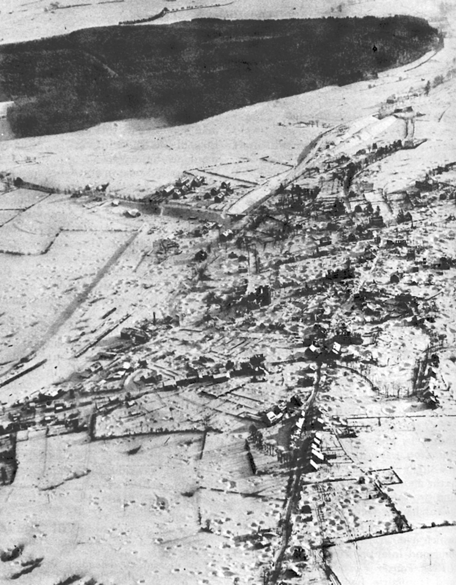 Saint Vith, Belgium December 1944. Saint Vith was a vital road junction in the Ardennes. The town was located near the Losheim Gap a traditional invasion route for German troops.