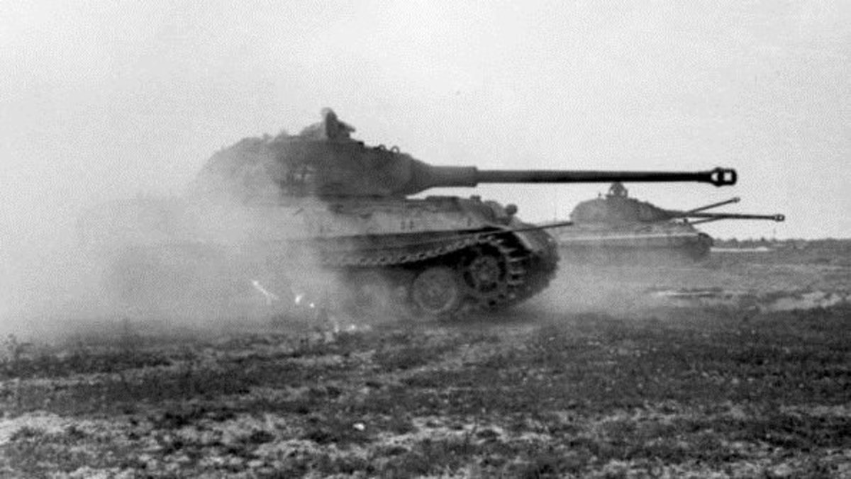 The German Tiger Mark II King Tiger in action near the beaches of Normandy June 1944. Its lack of mobility would cost the German army any chance of victory in the Battle of the Bulge.