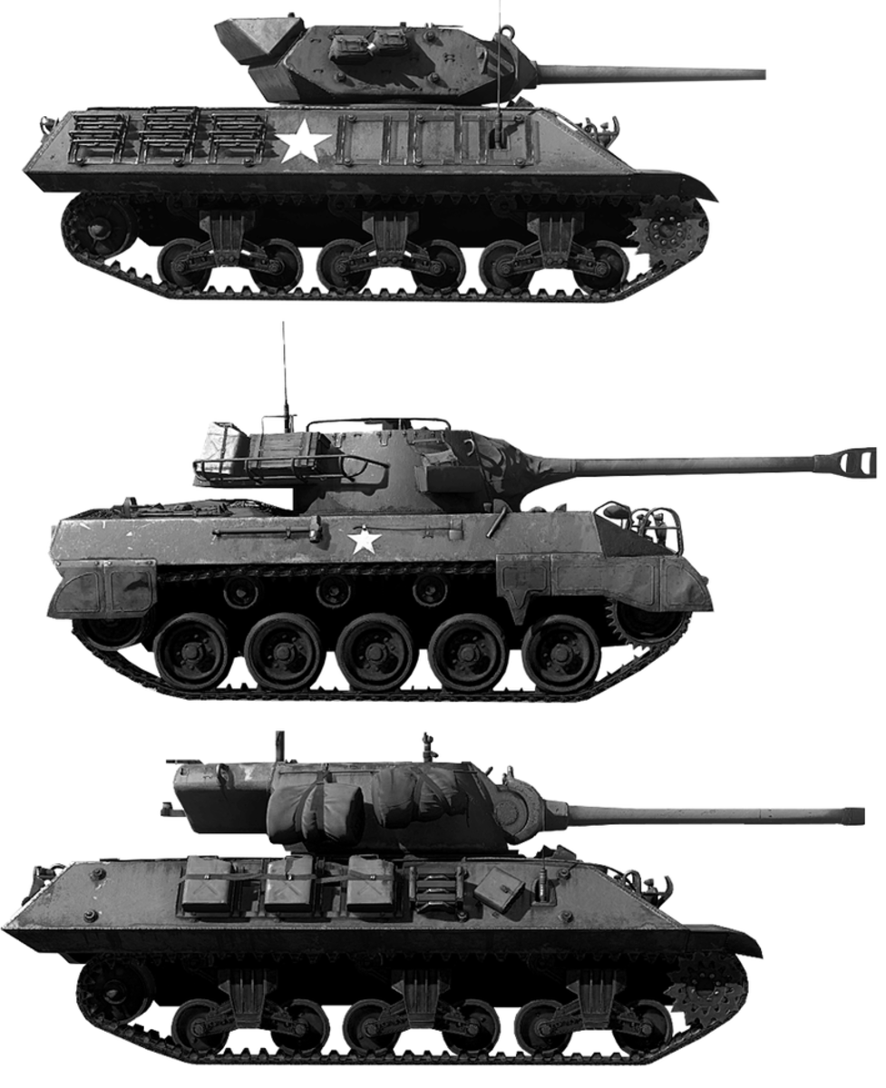 The different variations of the American M-18 Hellcat tank destroyer of the 705th Tank Destroyer Battlion 1944.