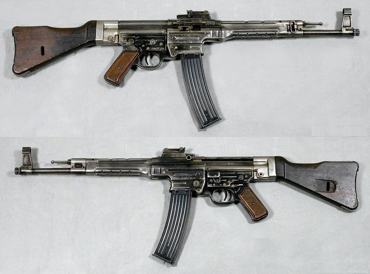 MP44 (Sturmgewehr 44), Germany. Caliber 8x33mm Kurz- From the collections of Armémuseum (Swedish Army Museum), Stockholm. It was the first true assault rifle the only one used by either side in the Second World War.