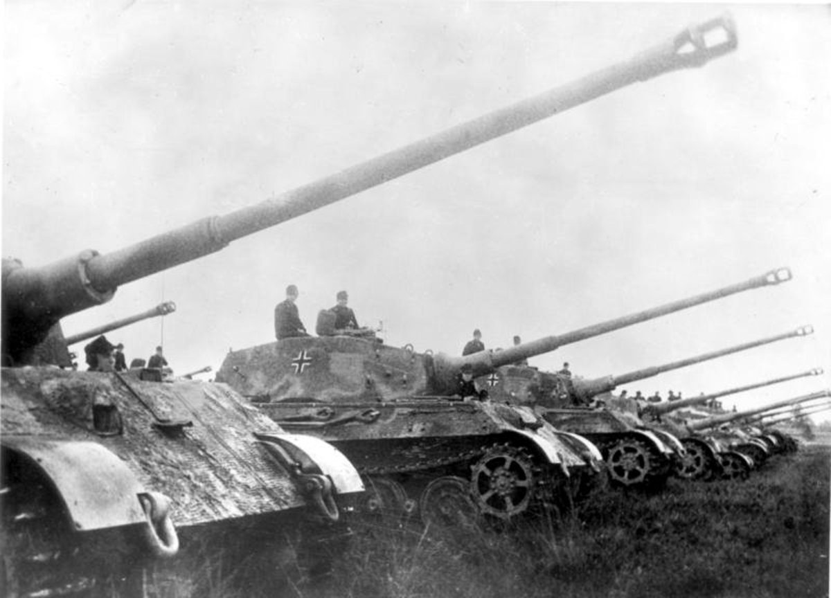 Tiger II tanks in formation for the Nazi German wartime-propaganda newsreel. Less than 500 Tiger II or King Tiger tanks were produced by the end of the war.