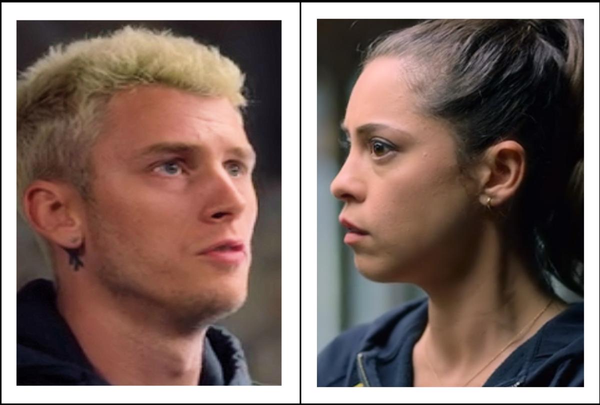 Machine Gun Kelly as Felix and Rosa Salazar as Lucy in 'Bird Box' (2018), a Netflix Original.