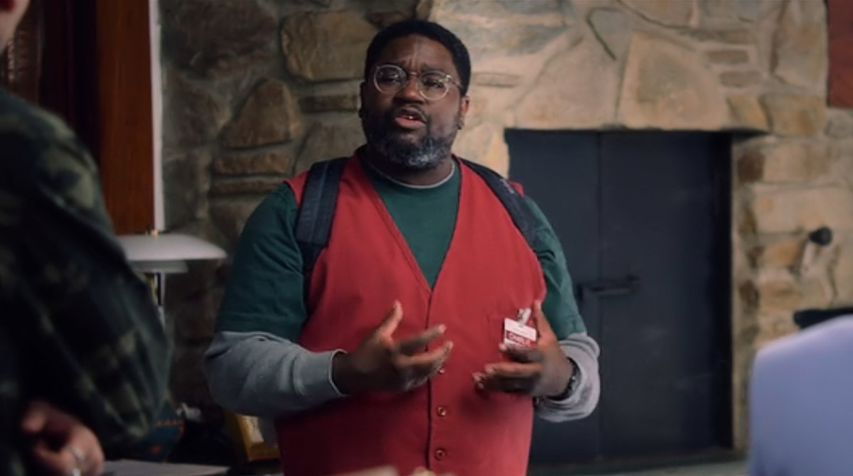 Charlie (Lil Rel Howery) tells the group his theory of what the creatures are and why they've come in 'Bird Box' (2018), a Netflix Original.