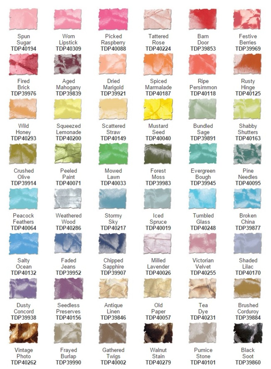 Currently available color range for distress inks