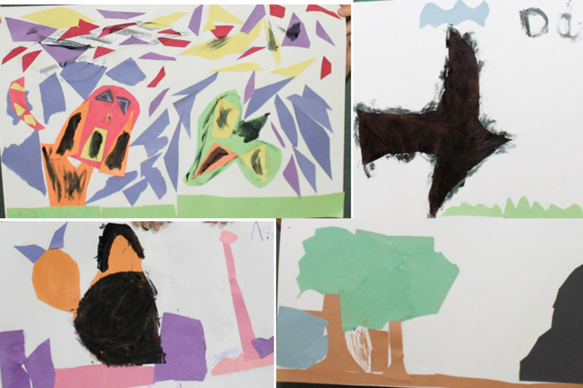 Examples of some of the student's Matisse-inspired paper cut-out collages