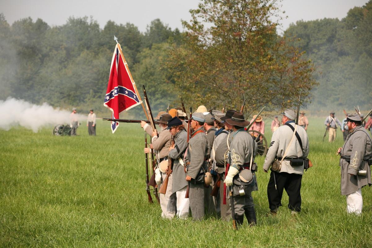 Meeting people with similar interests is a great way to make friends, like in this civil War reenactment group!