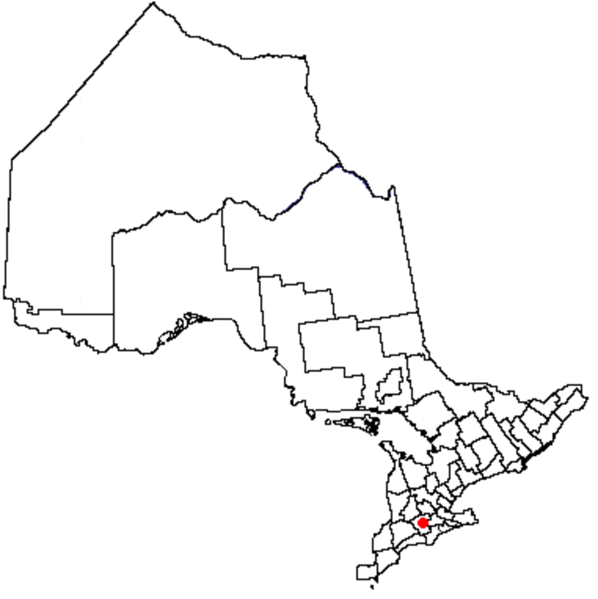 Map location of Woodstock, Ontario