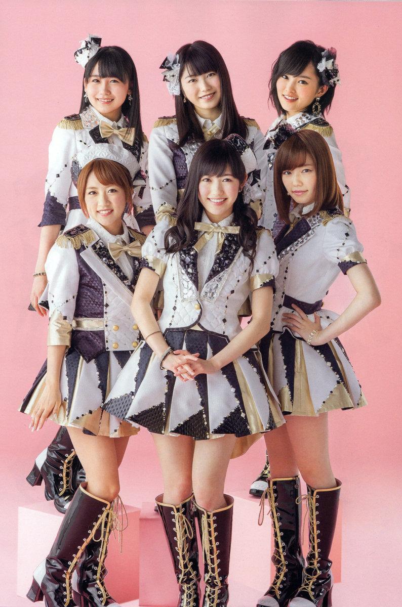 From left to right as seen in 2014: Mako Kojima, Yui Yokoyama, Sayaka Yamamoto, Minami Takahashi, Mayu Watanabe, and Haruka Shimazaki.