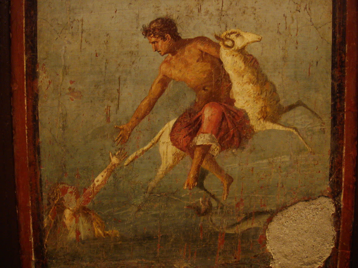 A fresco from ancient Pompeii shows Helle's tragic fall from the golden ram.