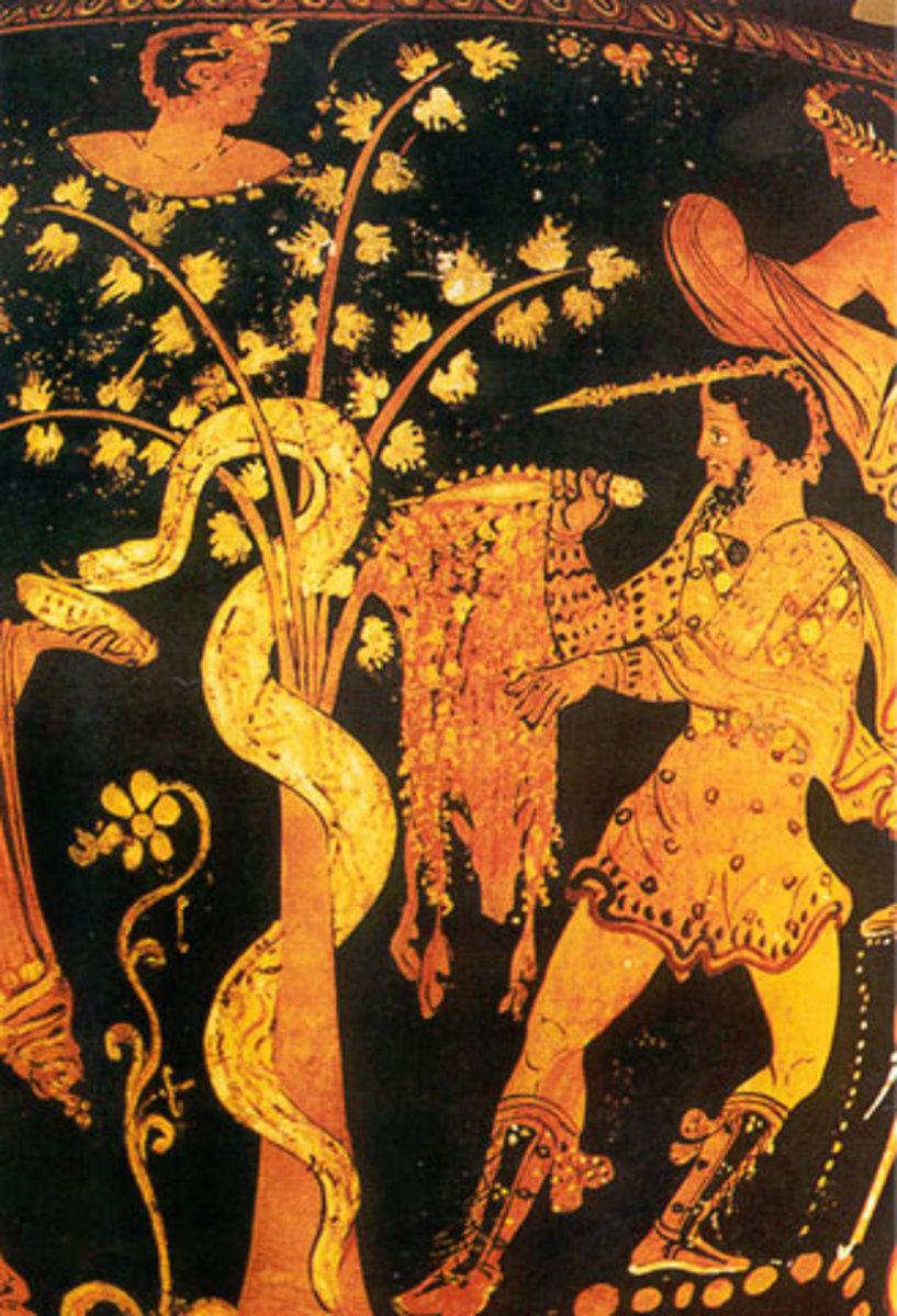 Ancient Greek pot showing Jason stealing Golden Fleece from sleeping dragon.