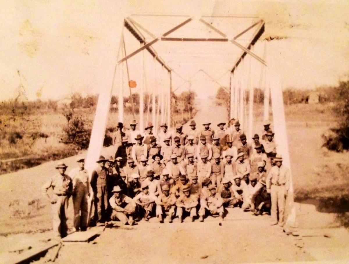Building the Original Bridge over the Poteau River