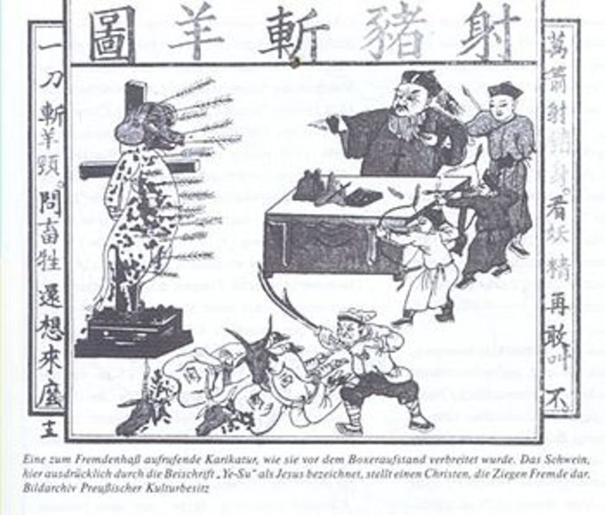 19th century woodblock print of a Westerners as animals being executed by Chinese officials.