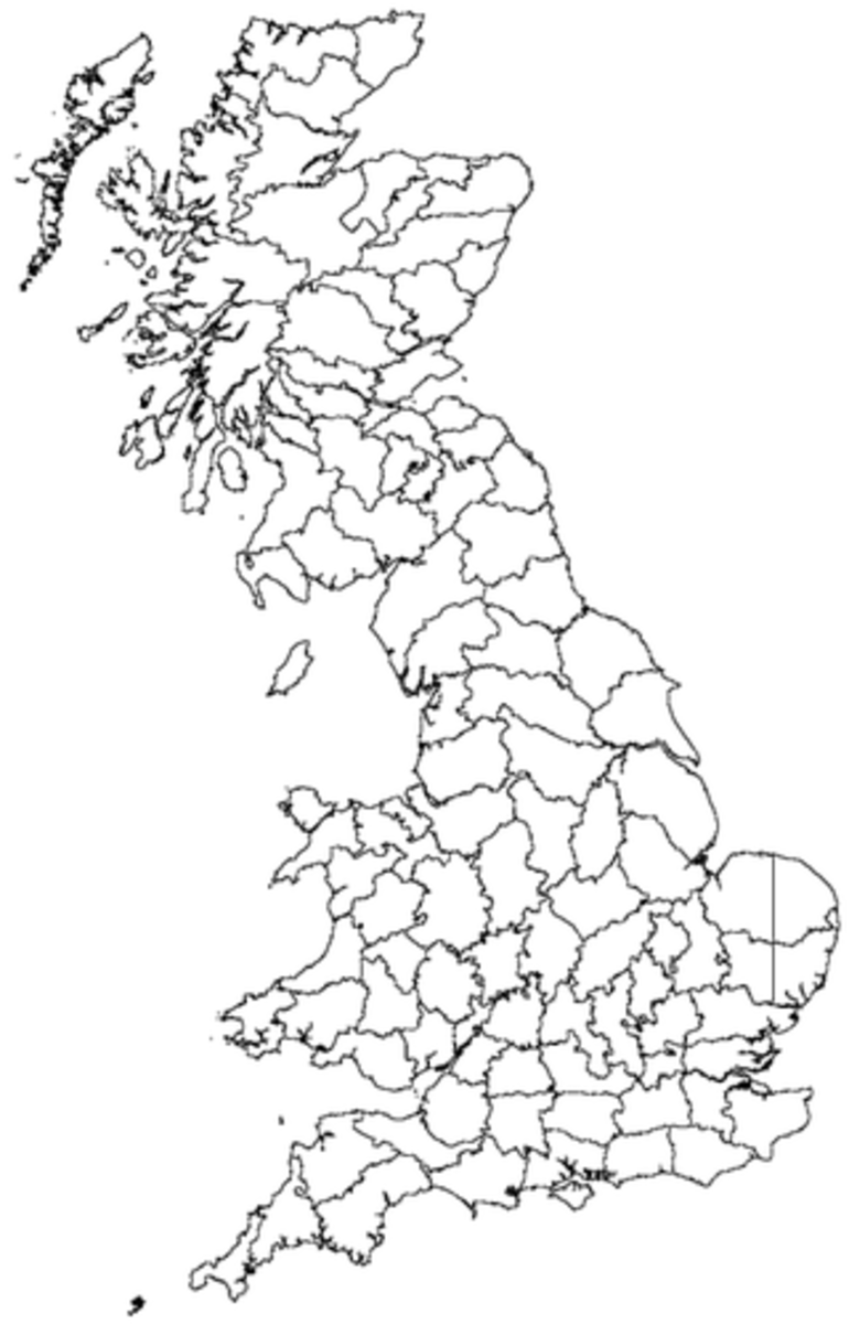 A map showing the Vice Counties of Great Britain excluding Orkney and Shetland