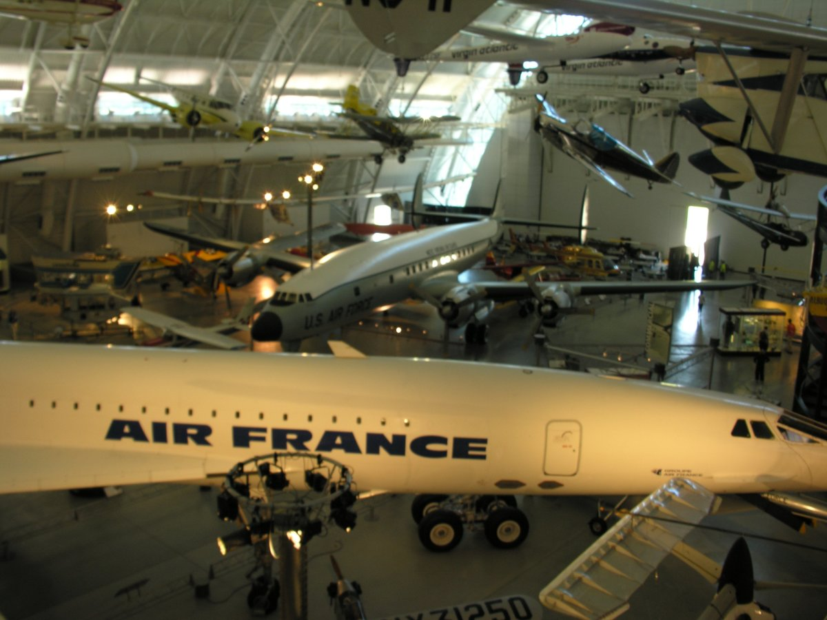 A C-121 at the Udvar-Hazy Center, Virginia.  June 2018.  A Concorde is in the foreground,.