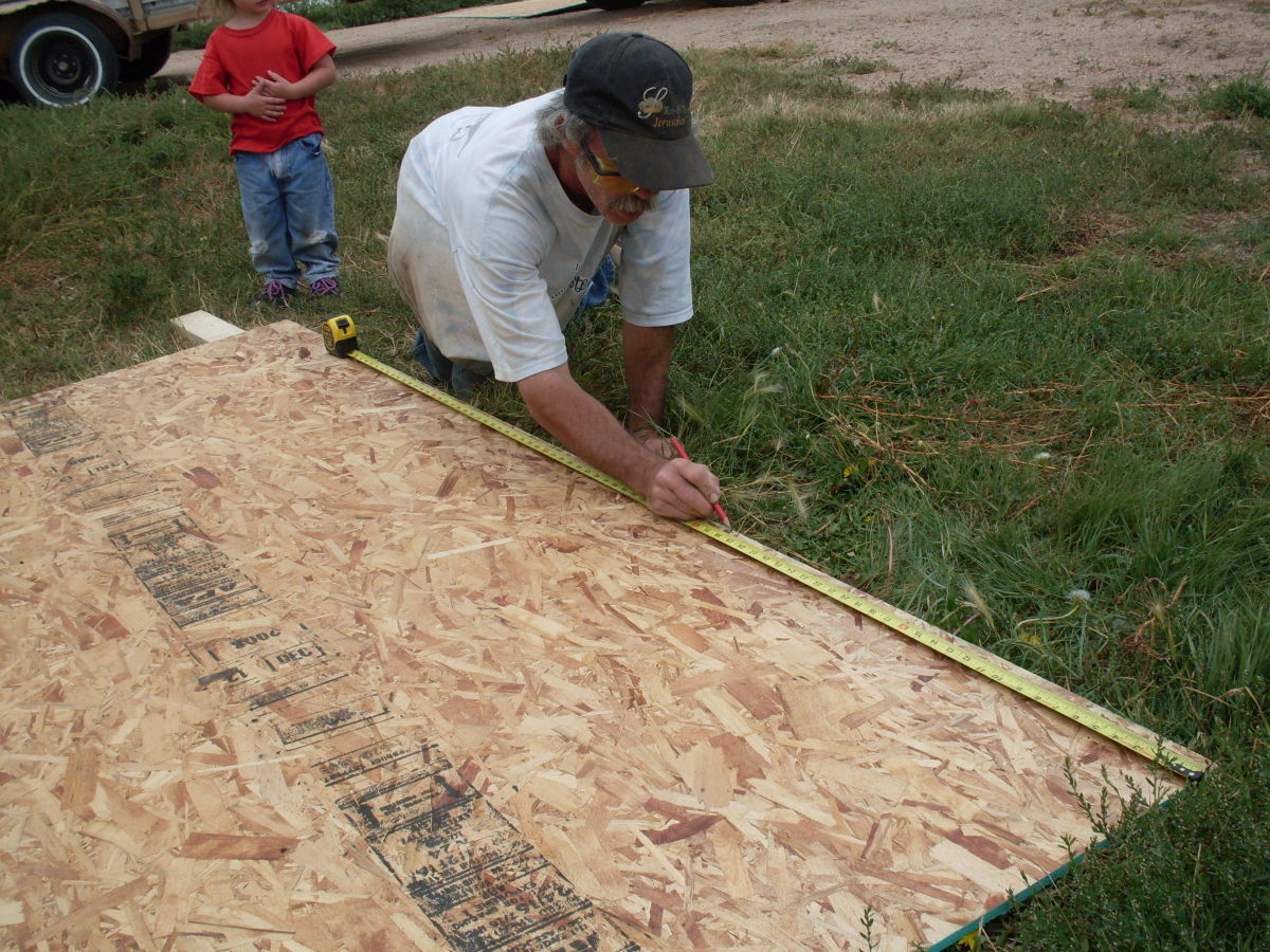 Mark the plywood accordingly. We are using 5/8-inch OSB. Even thicker would be better.