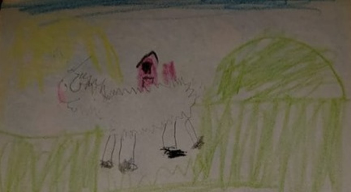 My son colored his drawing at home after class.