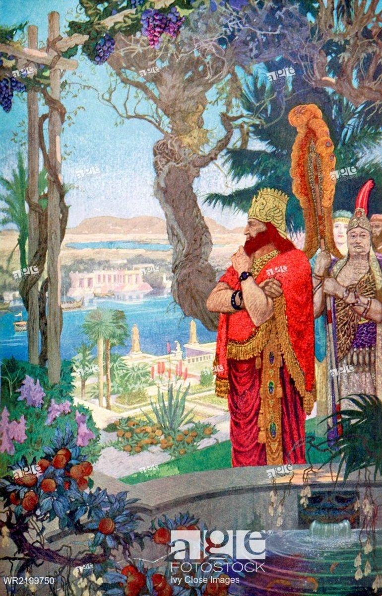 Nebuchadnezzar II, master of his world, contemplates his greatest work