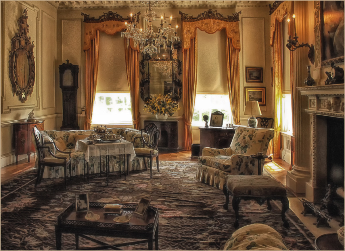 One of the rooms in the Mansion, featuring antique charm and family comfort