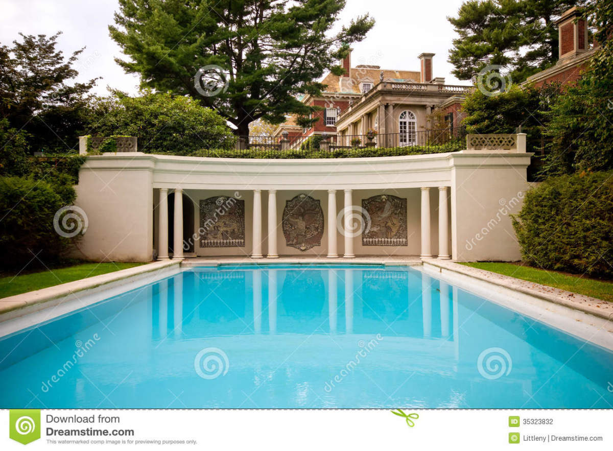 The Pool, with mosaic wall at end, backed by Mansion in distance