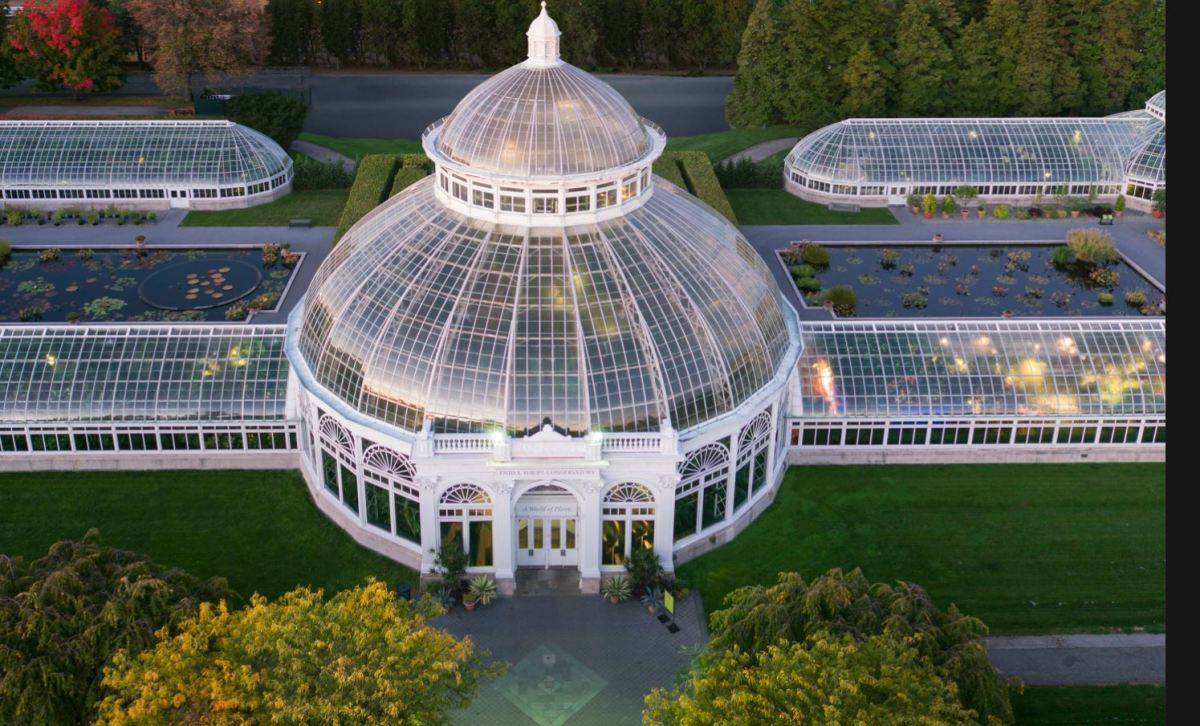 Enid A. Haupt Conservatory and greenhouses at New York Botanical Garden showing research capacity here