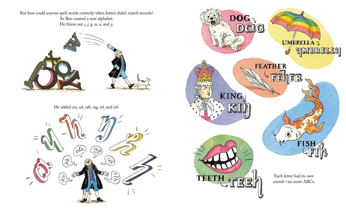A 2-page spread from An Inconvenient Alphabet showing design elements used to keep the text and illustrations varied and interesting.