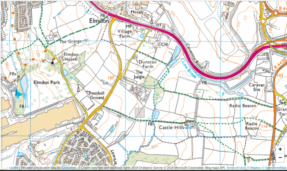 An OS map showing the relative proximity of my local patch- Elmdon Park and Castle Hills