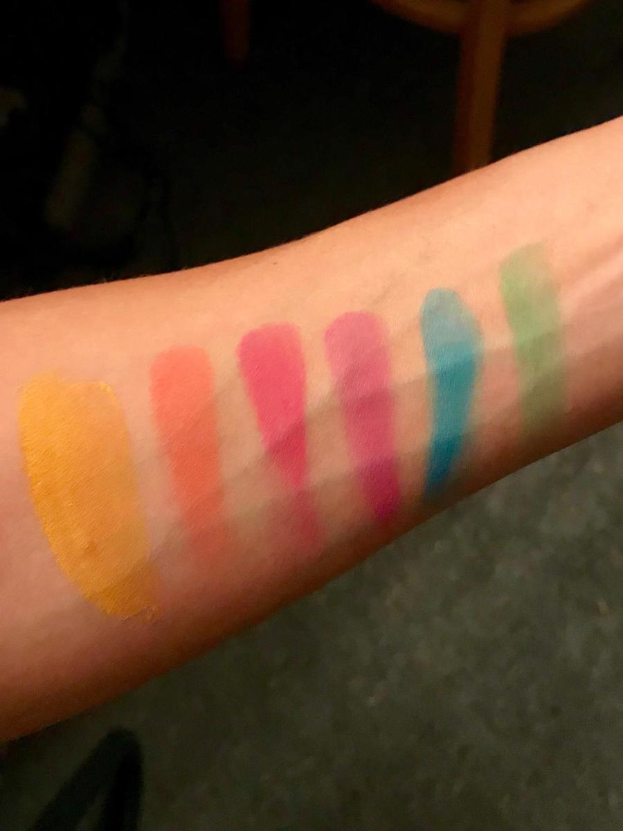 Here are swatches of the colors. Top pictures is without the flash and the bottom is with the flash. I feel that the top picture is a more accurate representation of what the colors actually look like in person.