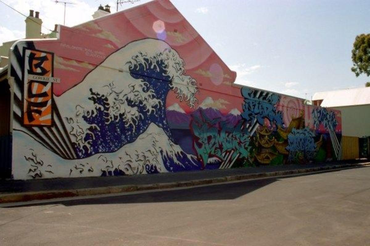Japanese graffiti rendition of the famous art work, The Great Wave of Kanagawa