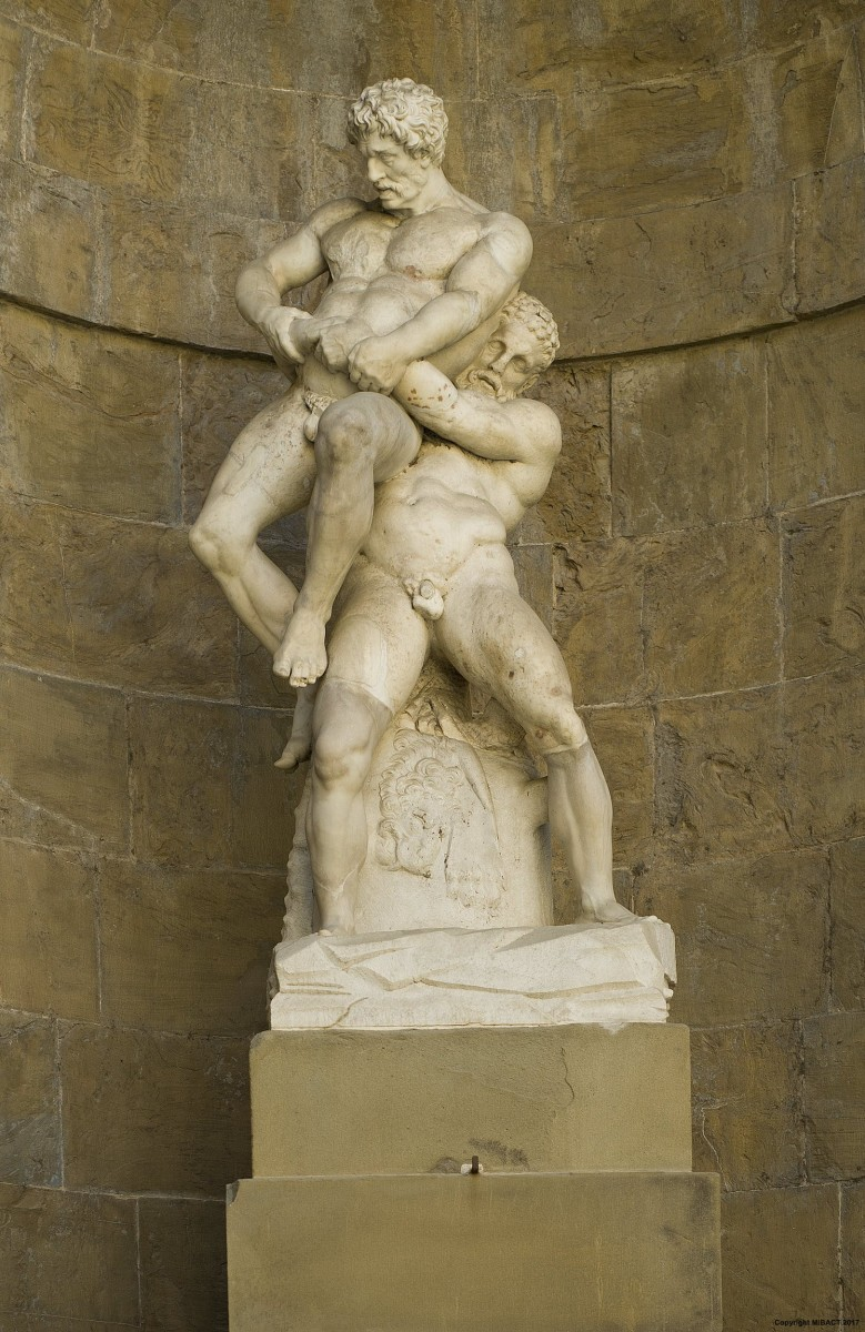 Heracles wrestling with the giant Antaeus.