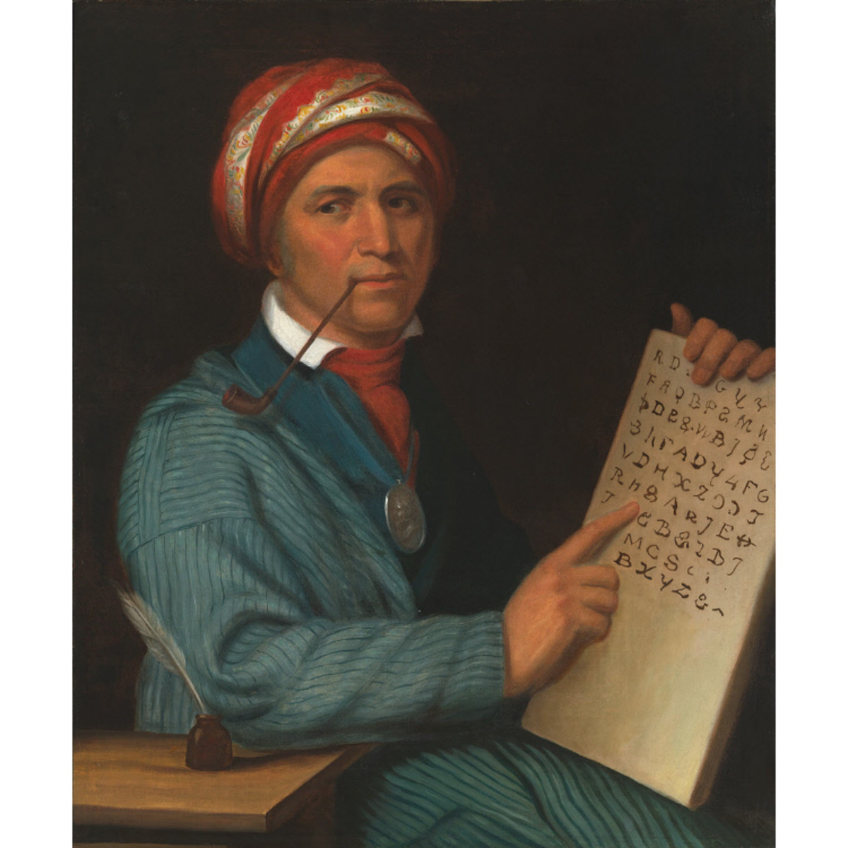 Painting of Sequoyah and his Cherokee script