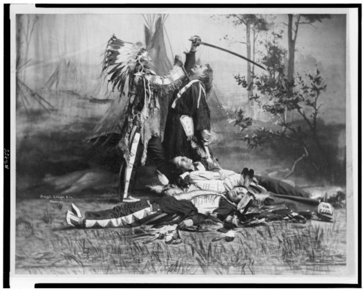 Photo of the Death of Custer with Sitting Bull (upper left)