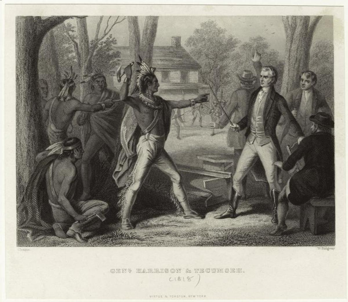 Engraving of Tecumseh challenging William Henry Harrison