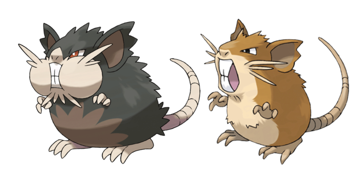 Alolan Raticate on the left and Kanto Raticate on the right. Which one is uglier?