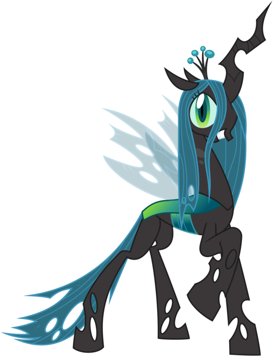 Queen Chrysalis. Former Queen of the Changeling Hive. Surprisingly never reforms over the course of My Little Pony: Friendship is Magic.