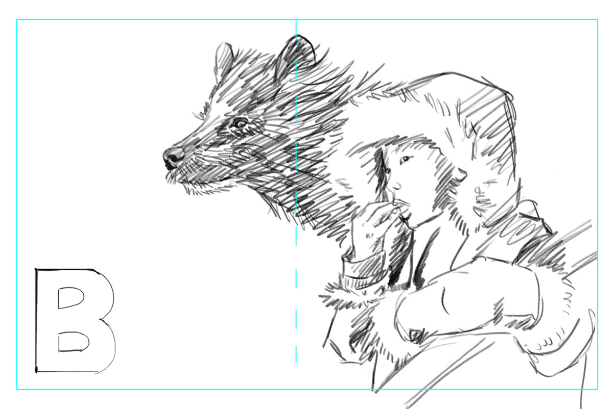 My thumbnail sketch for the illustration for The Boy of the Red Twilight
