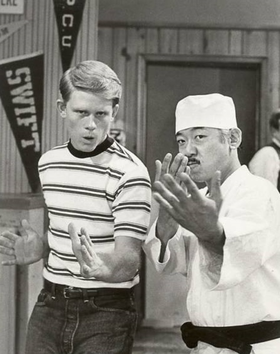"(from left), Ron Howard ""Opie,"" on Andy Griffith Show and Pat Morita on Happy Days, ABC,in 1975"